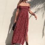 Waist Sexy High Fashion Print Strapless  Off Shoulder Dress