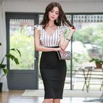 Elegant sleeveless Ruffles Striped Pencil Slim Office Dress