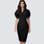Ruffle Sleeve Slim Elegant Casual Pencil Office Dress