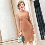 Long sleeves Vintage Package Office dress