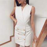 Button Sleeveless Elegant V-neck Sexy Office Dress