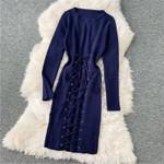 Fashion Slim Lace Up Bandage Knit Sweater Dress