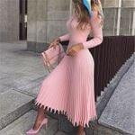 long sleeve Knitted sexy pleated elegant sweater dress