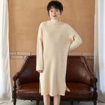 Turtleneck Knitted Long Split Sweater Dress