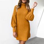 Warm Turtleneck Long Sleeve Knitted Sweater Dress