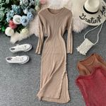 Casual Sheath Split Sexy Slim Button Knitted Pencil Sweater Dress