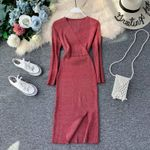 Elegant Sheath Sexy Vintage Slim V Neck Knitted Sweater Dress