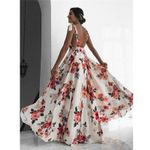 Sleeveless V-Neck Backless Vintage Sexy Floral Print  Dress