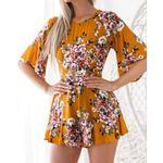 Backless Round Neck Flare Sleeve Loose Floral Printed Dress