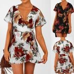 Fashion Sort Sleeve V-Neck Casual Ruffle Floral Printed Dress