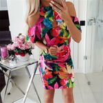 Chic Short Sleeve Pencil Elegant Vintage Floral Print Dresses