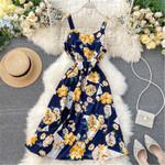 Spaghetti Strap Fashion Square Collar Floral Print Dress