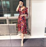 Silk V-neck Floral Print Midi Wrap Dress