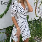 Retro Cute Dot Print Vintage Short Sleeve Wrap Dress