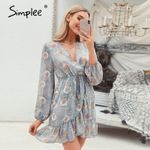 Floral print sexy Long sleeve v-neck Ruffled casual wrap dress