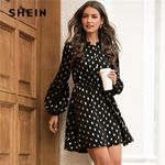 Button High Waist Elegant  Dot Lace Black Dress
