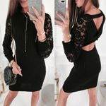 Backless Sexy Long Sleeve Slim Sexy Lace Black Dress
