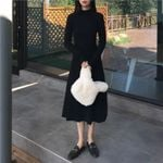 Long Sleeve Fashion Vintage Turtleneck Black Dress