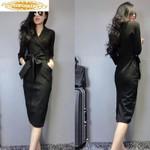 Elegant  Vintage Office Black Dress