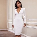 V Neck Long Sleeve Over Knee Striped Bandage White Dress