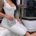V Neck Sleeveless Sexy Knitted White Dress