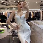 Sexy Spaghetti Strap Sleeveless  Bandage White Dress