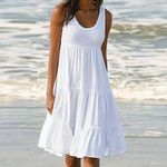 Cotton Sleeveless Party Beach  White Dresses