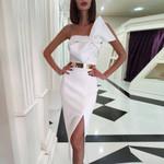 Strapless Sleeveless Over Knee White Dress