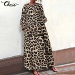 3/4 Sleeve Summer Loose  Dot Long Leopard Dress