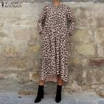 Fashion Casual Long Sleeve Leopard Dress