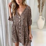Button V Neck Loose Casual Sexy Short Leopard Dress