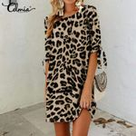 O neck Half Sleeve Casual Loose Print Sexy Leopard Dress