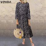 Casual Loose Long Sleeve Vintage Long Leopard Dress