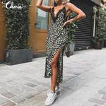 V Neck Strap Lace Sexy Sleeveless Vintage Leopard Dress