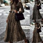Casual Loose Pleated  Elegant Fashion Long Sleeve Leopard Dress