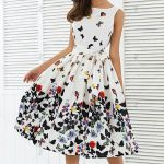 Sleeveless Zipper Sashes Fashion Butterfly Floral Vintage Dresses