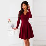 Long Sleeve Deep V-Neck Sexy A-Line Vintage Dress
