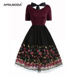 V Neck Short Sleeve Bow Lace Up Lace Vintage Dress