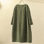Pockets Long Sleeve Loose Casual Vintage Dress