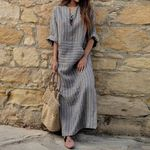 Casual Loose Retro Striped V Neck Long Sleeve Vintage Dress