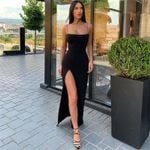 Backless Split Elastic Long Sleeveless Sexy Sleeveless Strap Party Dress