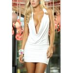 Sexy Backless Deep V Mini Skinny Sleeveless Halter Party Dress