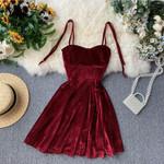 Elegant Vintage Gothic Spaghetti Strap High Waist Party Dress
