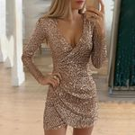 Sexy Deep V-Neck Sequin Long Sleeve Party Dress