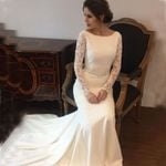 Satin lace long sleeves Bridal Gowns Sweep  Wedding Dresses
