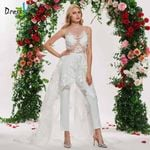 scoop neck sleeveless lace elegant lace stitching wedding dress