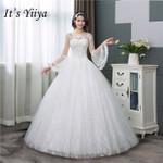 Simple O-neck Back Lace Up Long Flare Sleeve Wedding Dresses