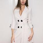 Long Sleeve Elegant Slim Double Breasted Blazer Dress