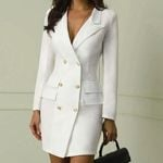 Double Breasted  Button Pocket Blazer Dress