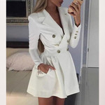 Fashion Long Sleeve Pockets Blazer Dress
